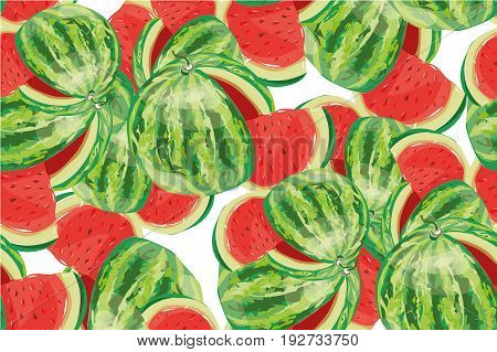 Seamless background with watermelon slices. Vector stock art