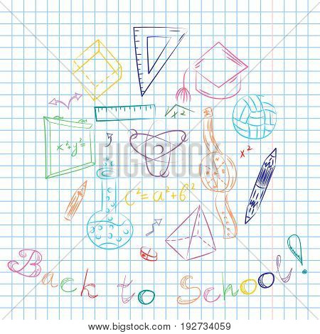 Colorful Hand Drawn School Symbols. Children Drawings of Ball BooksPencils Rulers Flask Compass Arrows Arranged in a Circle on a Sheet of Copybook in a Cage. Doodle Style Vector Illustration.