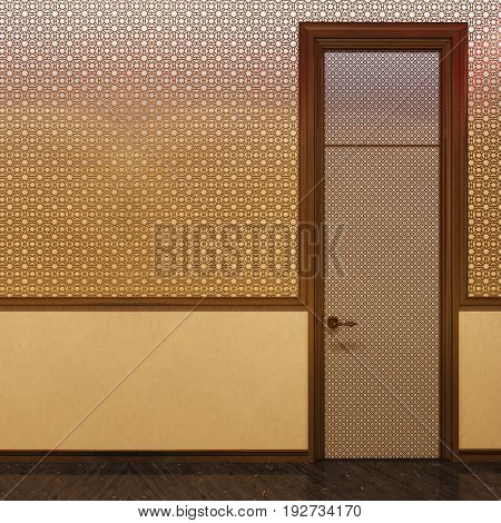 3d illustration, interior design of a hotel room in a traditional Islamic style. Beautiful deluxe room Ramdan Kareem background interior view decorated with Islamic motifs.