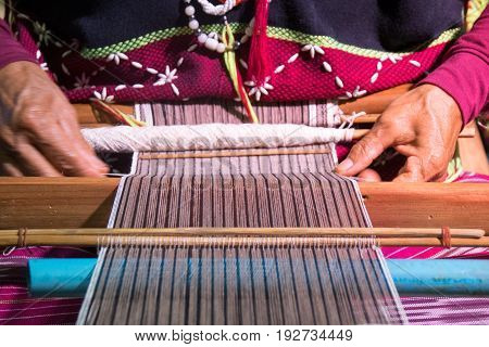 Close up Hand-made weaving of the Karen tribe