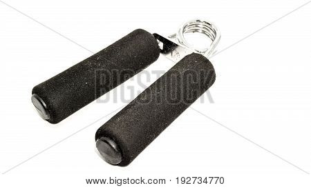 hand grip strength exercises tools on white background