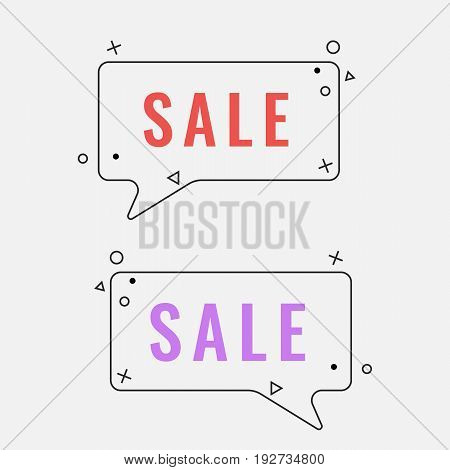 Simple sale square speech bubbles with geometric signs vector illustration isolated on white background. Promotional selling tags
