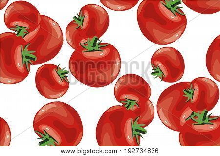 Tomatoes and sliced pieces on a pink background. Seamless pattern. Vector illustration.