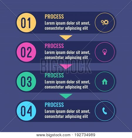 Process business infographic chart with four steps going one after another. Graphic with stages of work vector illustration
