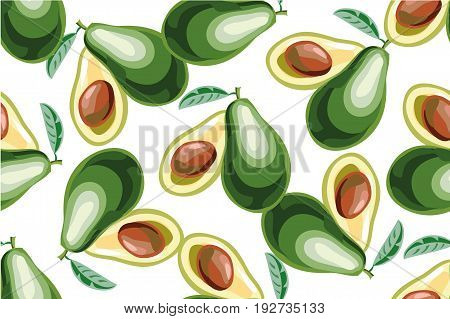 Vector seamless background with avocado fruit slices on a white background art