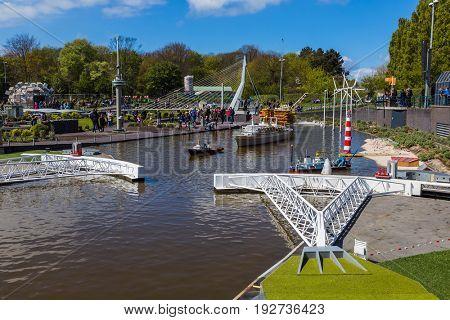 The Hague, Netherlands - April 26, 2017: Maeslantkering dam in Madurodam miniature park in The Hague.