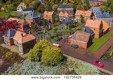 The Hague, Netherlands - April 26, 2017: Village in Madurodam miniature park in The Hague.