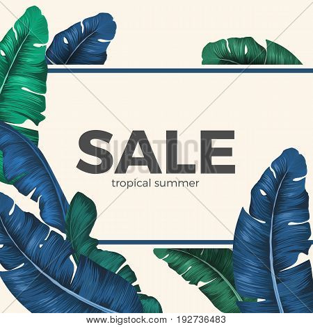 Sale inscription hidden in tropical exotic leaves seasonal promotion banner. Vector colorful poster showing seasonal price decrease