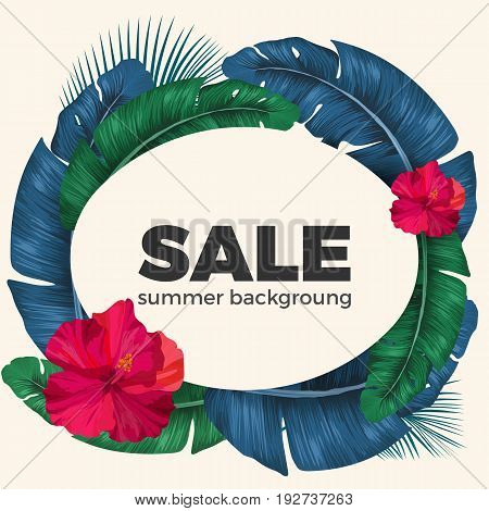 Summer sale poster with palm tree circle and pink Hibiscus flowers on it. Vector promotional card offering seasonal price decrease