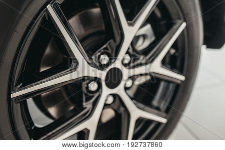 Closeup of car tire. Car wheel. Brakes