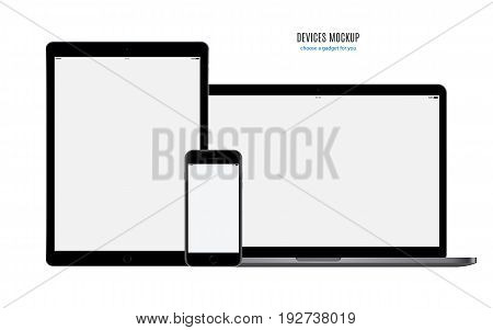 mockup devices: smartphone tablet and laptop with blank screen isolated on white background. stock vector illustration eps10