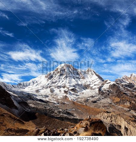 Mount Annapurna view from Annapurna base camp in the Nepal Himalaya