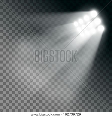 Stadium lights effect on a transparent background. Stock vector illustration.