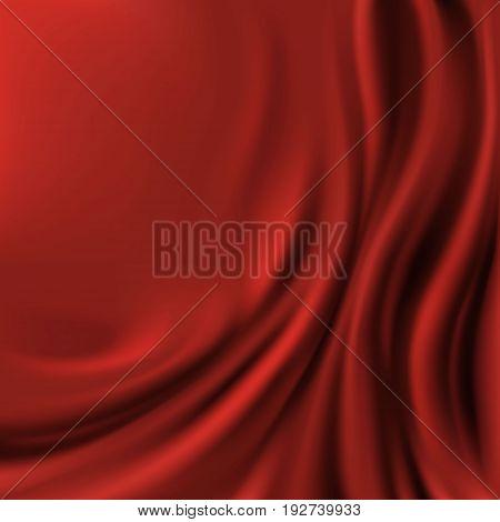 Red velvet fabric. Textile background. Stock vector illustration.