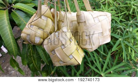Ketupat which has been boiled Cooked to celebrate Hari Raya Aidilfitri in malaysia