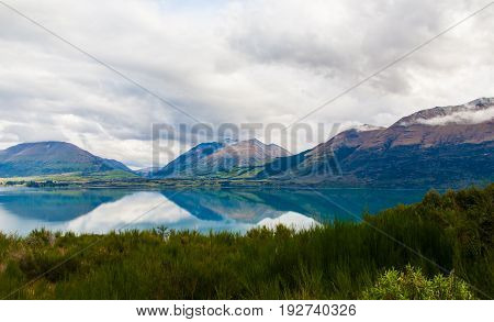 Mountain & reflection lake from view point on the way to Glenorchy South island of New Zealand