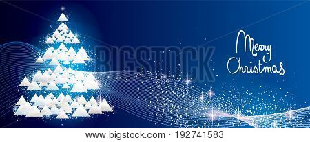 White Glitter Christmas Tree Banner