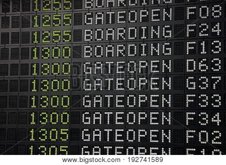Flight Information Panel At Airport