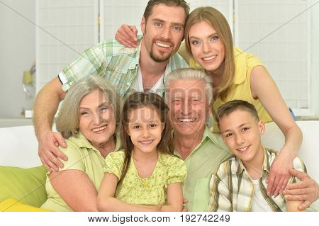 Portrait of a big family of three generations