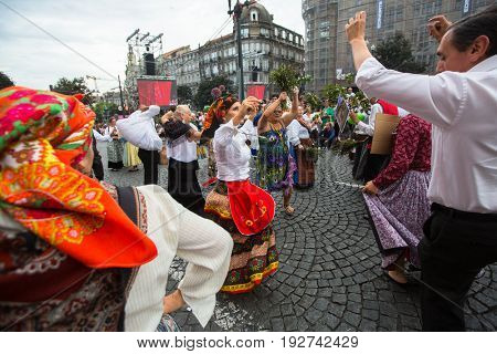 PORTO, PORTUGAL - JUN 25, 2017: Festival of St John (Festa de Sao Joao). Happens every year and has the status of the city's most important festival, yet it is relatively unknown outside the country.