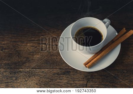 Hot Coffee, Espresso Coffee Cup. Cinnamon Coffee On Wood Table.