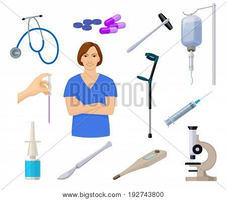 set of cartoon icons of medical and healthcare equipment and young female physician