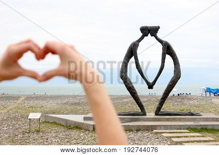 BATUMI GEORGIA-JULY 4 2015 he sculpture done in bronze and metal is located on Batumi Boulevard.