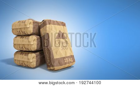 Cement Bag On Blue Background 3D Rendering Image