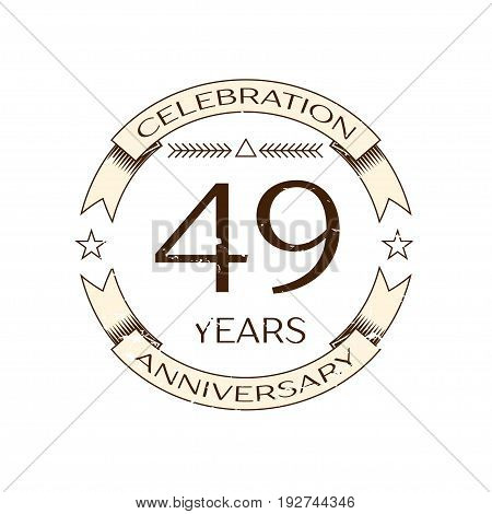 Realistic forty nine years anniversary celebration logo with ring and ribbon on white background. Vector template for your design
