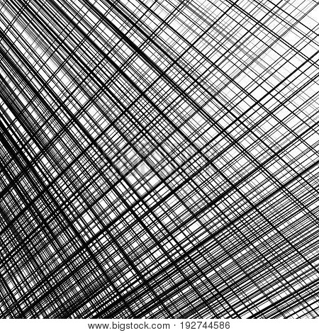 Grid, Mesh Of Dynamic Irregular Lines. Abstract Geometric Trellis, Grill Texture