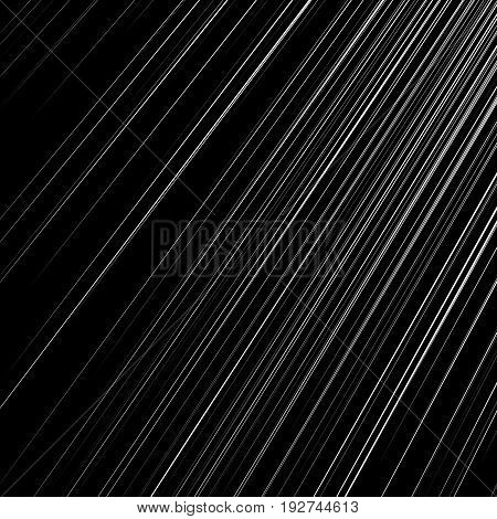 Dynamic, Radial Lines Pattern. Straight Slanted Lines Black And White Geometric Pattern / Texture