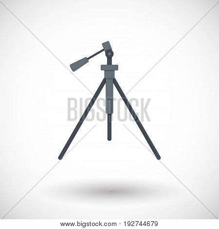 Tripod flat vector icon flat design of travel hobby birds watching video and photo shooting object with round shadow isolated on the white background vector illustration