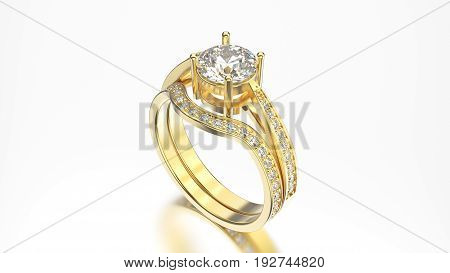 3D illustration yellow gold matching band set rings with diamonds with reflection on a grey background