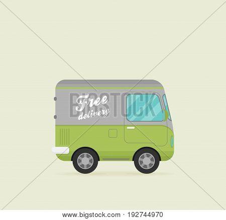 Vector Free Shipping car. Flat vector icon.