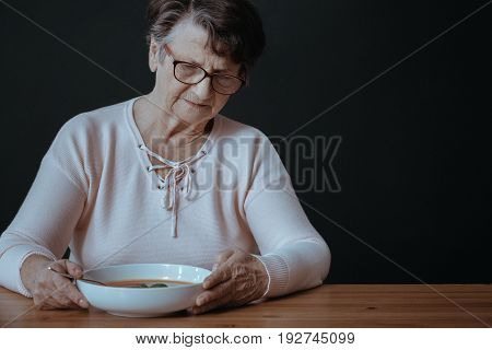 Older Lady During Dinner