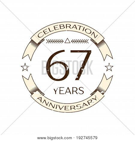 Realistic sixty seven years anniversary celebration logo with ring and ribbon on white background. Vector template for your design