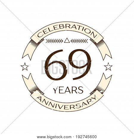 Realistic sixty nine, years anniversary celebration logo with ring and ribbon on white background. Vector template for your design