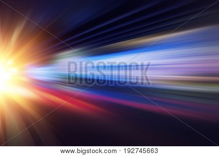Motion Blur Fast Business And Technology Background Concept, Acceleration Super Zoom Blurry Night Ro