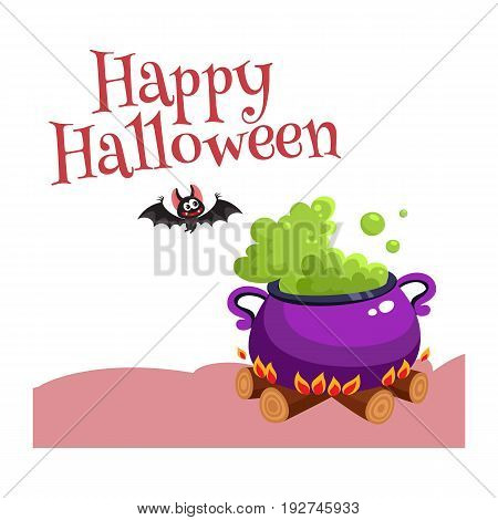 Happy Halloween greeting card, poster, banner design with bat and caldron, cartoon vector illustration isolated on white background. Halloween greeting card, banner, poster with caldron and bat