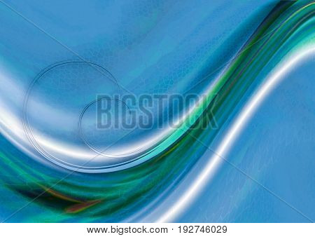 Textured mosaic cells blue background with convex flowing green and white waves with spirals