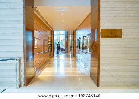 HONG KONG - CIRCA SEPTEMBER, 2016: entryway to Four Seasons Hotel Hong Kong. Four Seasons Hotel Hong Kong is a five-star hotel building in the Sun Hung Kai Properties.