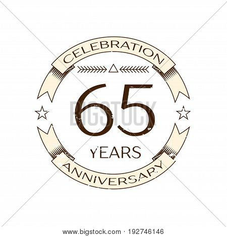 Realistic sixty five years anniversary celebration logo with ring and ribbon on white background. Vector template for your design
