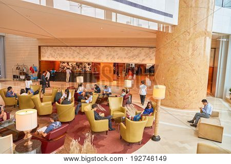 HONG KONG - CIRCA SEPTEMBER, 2016: Four Seasons Hotel Hong Kong Lobby. Four Seasons Hotel Hong Kong is a five-star hotel building in the Sun Hung Kai Properties.