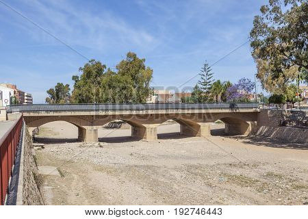 Bridge over a dry river in town Fuente Alamo de Murcia Spain