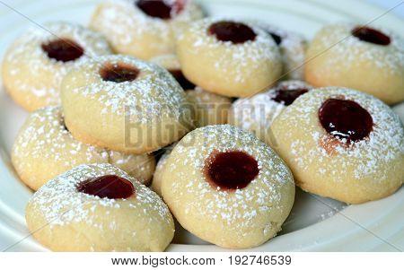 Close-up of Swedish vanilla Cookies also known as Vaniljkakor: Christmas Baking