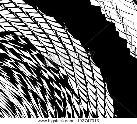 Element, Pattern With Wavy, Distorted Lines. Abstract Geometric Illustration In Black And White