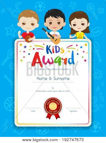 Portrait colorful kids award diploma certificate template in cartoon style with happy boy and girl