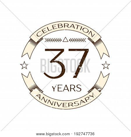 Realistic thirty seven years anniversary celebration logo with ring and ribbon on white background. Vector template for your design