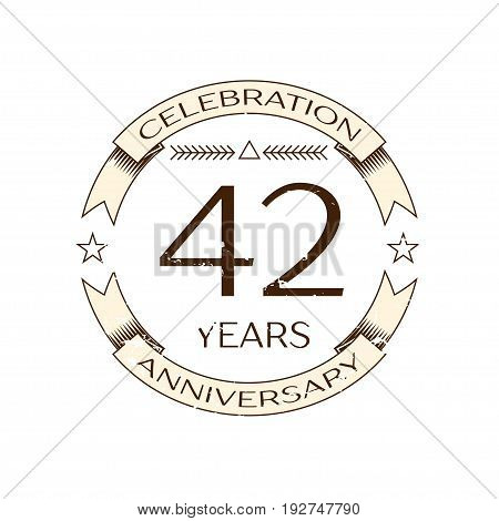 Realistic forty two years anniversary celebration logo with ring and ribbon on white background. Vector template for your design