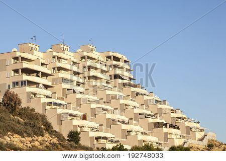 Modern residential building with balconies in Puerto de Mazarron. Region of Murcia southern Spain